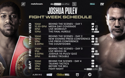 Anthony Joshua vs Kubrat Pulev fight week schedule in full what time start sky sports box office how do i order much price £20 £25 roi ireland behind the scenes interviews weigh in face off head to head matchroom