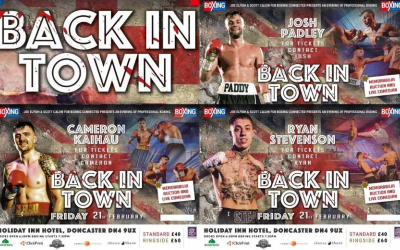 Friday 21 Holiday Inn Doncaster Back in Town Josh Padley and Ryan Stevenson Warmsworth armthorpe boxing connected Cameron Kaihau