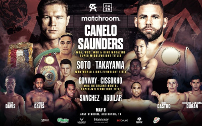 Chief support and full undercard for Canelo Alvarez vs Billy Joe Saunders announced elwin soto boxrec ringwalks time