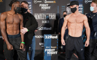 Denzel Bentley vs Felix Cash official weights and running order undercard tv channel quotes weigh-in owen cooper pro debut callum johnson emil markic david adeleye heavyweight