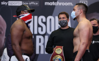 Derek Chisora vs Joseph Parker official weights and running order wbo international heavyweight title rongwalks what time start sky sports box office facebook page matchroom