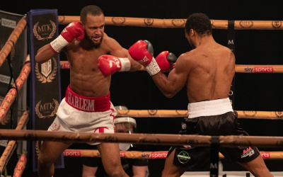 harlem Eubank excels in English Eliminator with danny daniel darko Egbunike who won watch highlights next fight what when who kay prospere super-lightweight dad chris jr sr peter simon brighton hove trainer mtk global