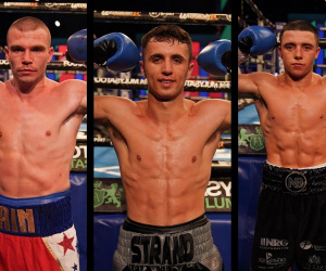 Nick Ball, Andrew Cain and Brad Strand july 31 ed harrison brett fidoe jerome campbell bt sport fight results report paul stevenson everton red triangle gym liverpool amateur careers records