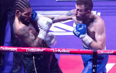Sam Eggington smashed through Ashley Theophane in six kaisee benjamin ben fields aaron mckenna steviejordan grannum mj hall ko tko points result report watch highlights channel 5 scott welchidris virgo michael hennessy jr sports